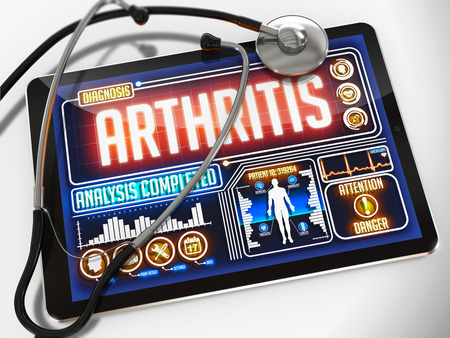 spondylitis: Arthritis - Diagnosis on the Display of Medical Tablet and a Black Stethoscope on White Background.