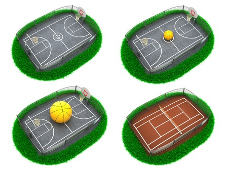 half ball: Set Sport Concepts - Set of 3D Tennis Court and Basketball Field.