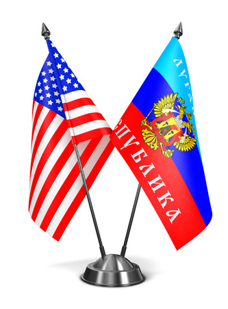 proclaimed: USA and LNR - Miniature Flags Isolated on White Background.
