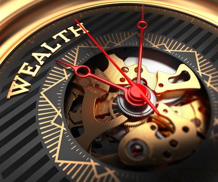 Reichtum auf Schwarz-Goldene Uhr-Gesicht mit Teilansicht des Uhrenmechanismus. Lizenzfreie Bilder