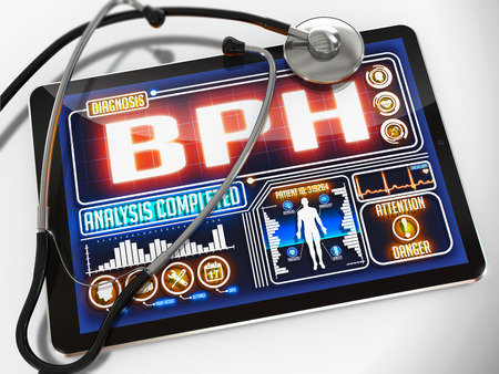 hesitancy: BPH  - Diagnosis on the Display of Medical Tablet and a Black Stethoscope on White Background.