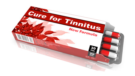 decibel: Cure for Tinnitus, Pills Blister getting out from Red Box over White Background.