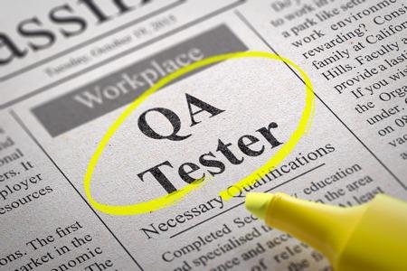 control de calidad: QA Tester Jobs en el Periódico. Búsqueda de empleo Concept. Foto de archivo