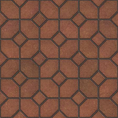 figured: Decorative Figured Brown Pavement Slabs. Seamless Tileable Texture.
