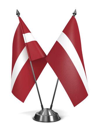 nato summit: Latvia - Miniature Flags Isolated on White Background.