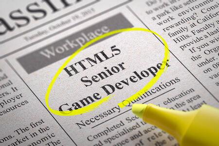 html5: HTML5 Senior Game Developer Vacancy in Newspaper. Job Seeking Concept.