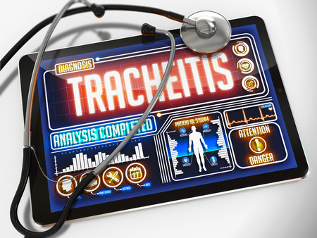 pharyngitis: Tracheitis - Diagnosis on the Display of Medical Tablet and a Black Stethoscope on White Background.