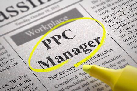 contextual: Vacante Gerente PPC en el peri�dico. B�squeda de empleo Concept.