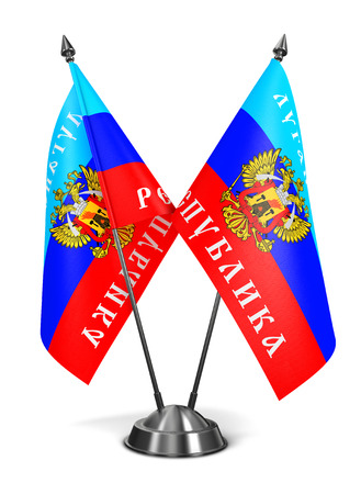 separatism: Lugansk Peoples Republic - Miniature Flags Isolated on White Background. Stock Photo