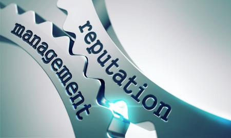 relaciones publicas: Reputación concepto de gestión sobre el Mecanismo de Ruedas dentadas de metal. Foto de archivo