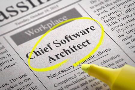 re design: Chief Software Architect Vacancy in Newspaper. Job Seeking Concept.