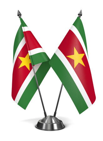 suriname: Suriname - Miniature Flags Isolated on White Background. Stock Photo