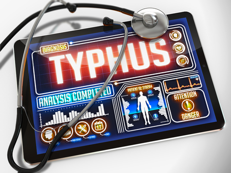 typhus: Typhus - Diagnosis on the Display of Medical Tablet and a Black Stethoscope on White Background.
