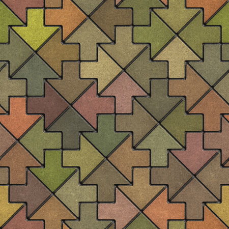 Multicolor Mosaic Paving Slabs as Arrow. Seamless Tileable Texture. photo