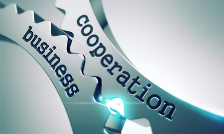 communication: Business Cooperation Concept on the Mechanism of Metal Cogwheels.
