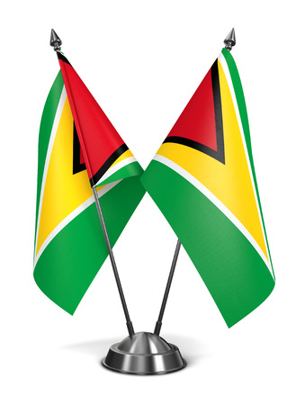 co operative: Guyana - Miniature Flags Isolated on White Background. Stock Photo