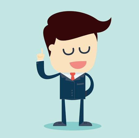 bras lev�: Cartoon Illustration d'un homme d'affaires parlant au bras lev� sur un fond bleu. Vector Illustration.