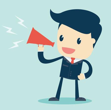 inform: Cartoon Illustration of  Businessman Speaking  with a Megaphone on a Blue Background. Vector Illustration.