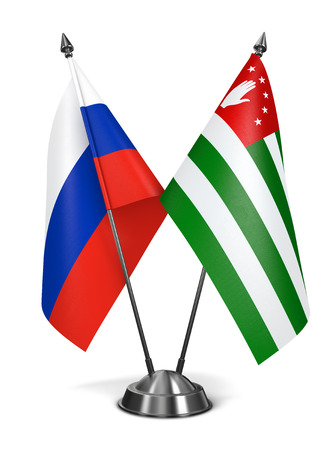 diplomatic: Russia and Abkhazia - Miniature Flags Isolated on White Background.