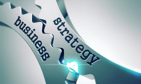 Geschäftsstrategie auf dem Mechanismus der Metallzahnräder. Lizenzfreie Bilder