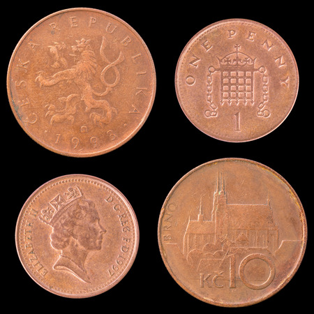 obverse: Obverse and Reverse Coin of Great Britain 1997 and Czech Republic 1993. On Black Background.
