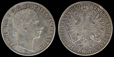 an obverse: Obverse and Reverse of Austria Coin on a Black Background.