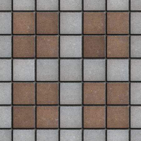 tileable: Concrete Pavement Laid as Four Gray Small Square in Big Brown Square. Seamless Tileable Texture. Stock Photo