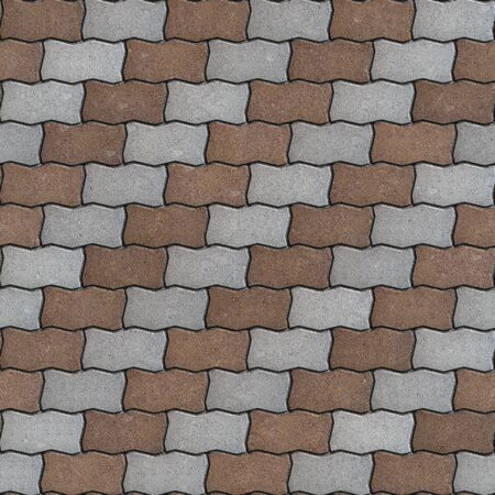Brown and Gray Paving Slabs as Wavy Parallelograms Laid in Diagonal. Seamless Tileable Texture. photo