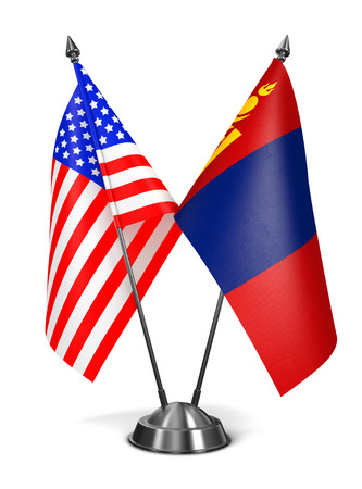 USA and Mongolia - Miniature Flags Isolated on White Background. photo