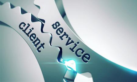 Service-Client auf dem Mechanismus der Metallzahnräder.