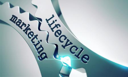 ciclo de vida: Ciclo de vida de Marketing sobre el Mecanismo de Ruedas dentadas de metal. Foto de archivo