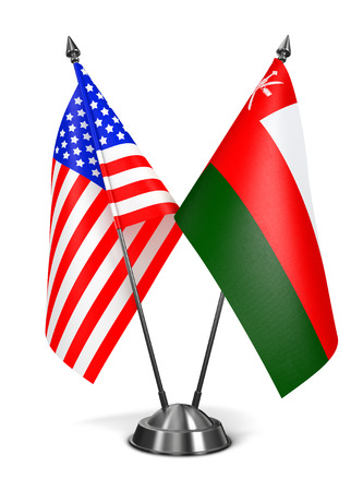 oman background: USA and Oman - Miniature Flags Isolated on White Background. Stock Photo