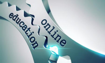 online education: Online Education on the Mechanism of Metal Cogwheels. Stock Photo
