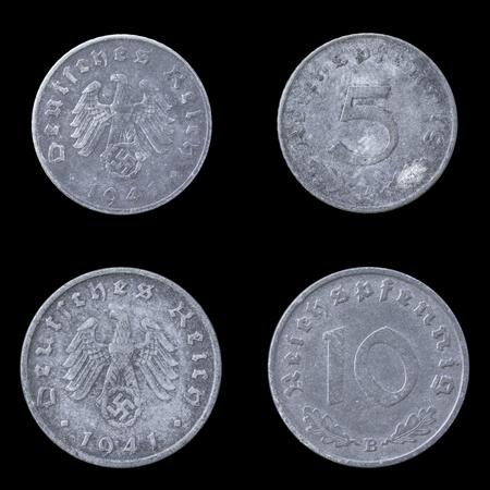 obverse: Obverse and Reverse of Two German Coins on a Black Background. Stock Photo
