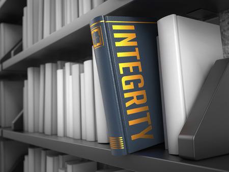 valores morales: Integridad - Gris libro en la estanter�a Negro entre los blancos.