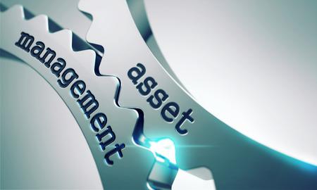 financial management: Asset Management on the Mechanism of Metal Cogwheels. Stock Photo