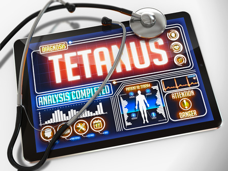 tetanus: Tetanus - Diagnosis on the Display of Medical Tablet and a Black Stethoscope on White Background.