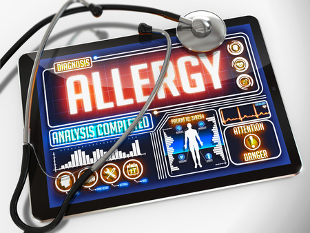 hypersensitivity: Medical Tablet with the Diagnosis of Allergy  on the Display and a Black Stethoscope on White Background.