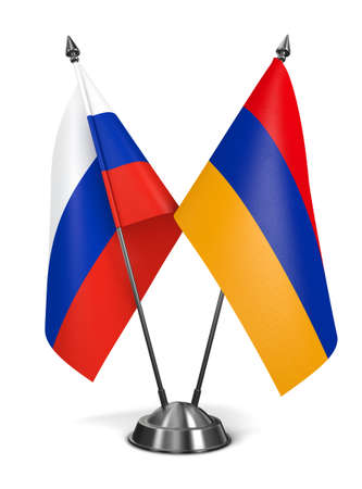 diplomatic: Russia and Armenia - Miniature Flags Isolated on White Background.