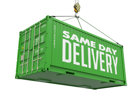 Same Day Delivery -Green Cargo Container hoisted by hook,Isolated on White Background. photo