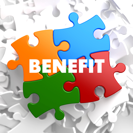 dividend: Benefit on Multicolor Puzzle on White Background.