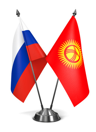 diplomatic: Russia and Kyrgyzstan - Miniature Flags Isolated on White Background. Stock Photo