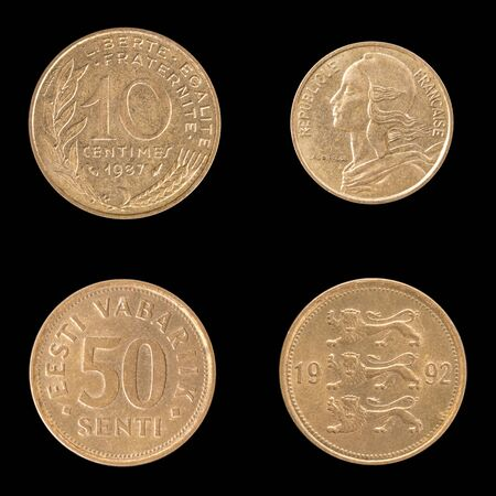 obverse: Obverse and Reverse Coin of France 1987 and Estonia 1992. On Black Background.