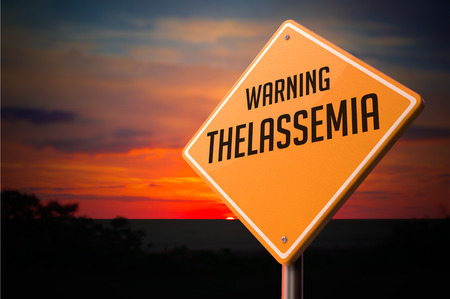 thalassemia: Thalassemia on Warning Road Sign on Sunset Sky Background. Stock Photo