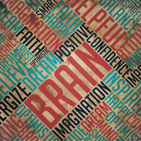 Brain - Grunge Printed Word Collage on Old Fulvous Paper. photo