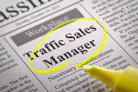 Traffic Sales Manager Jobs in Newspaper. Job Search Concept. Stock Photo