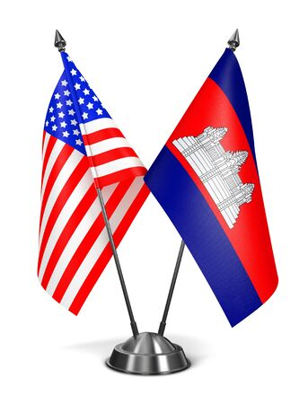 diplomatic: USA and Cambodia - Miniature Flags Isolated on White Background.