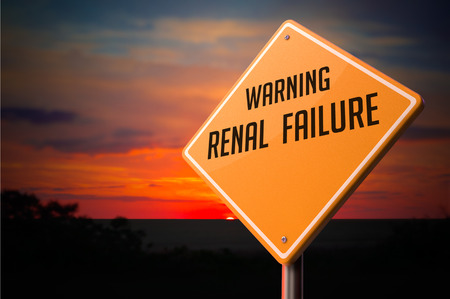 renal stone: Renal Failure on Warning Road Sign on Sunset Sky Background. Stock Photo