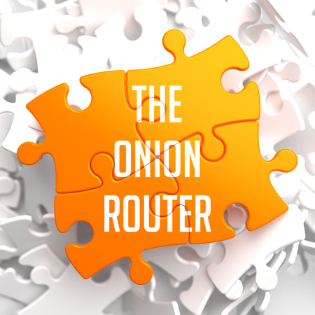 tcp: The Onion Router - Orange Puzzle on White Background.