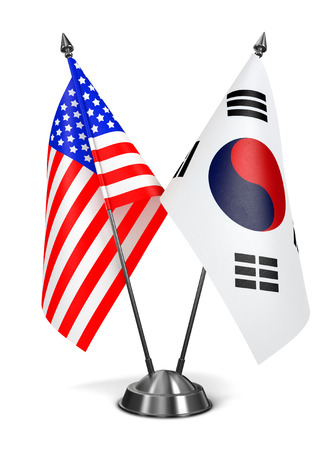 south korea flag: USA and South Korea - Miniature Flags Isolated on White Background.
